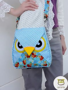 Ocean : Light Blue Flip Bag, Owl Bag, messenger bag, tote, animal, women, kid bag, children bag, fabric bag, girl bag, boy bag, flower, dot