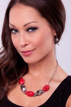 RED SILVER SKULL CHAIN LINK NECKLACE EARRING SET