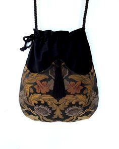 Jacquard Tapestry Bag Black Velvet Bag  Boho Bag  Black Bag