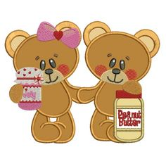 Girl and Boy Smiling Bears Applique Machine Embroidery Digitized Design Pattern #valentines #embroidery #applique #bears
