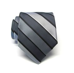 Mens Ties Gray Silver Charcoal Gray Stripes Necktie by TieObsessed