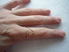trilateral number one. 14k gold filled triangle ring..