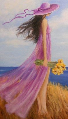 Girl by the sea holds flowers Full Square Diamond painting Round Diamond Embroidery Sale Home decoration Diamond pictures Art And Illustration, Painting People, Figure Painting, Painting & Drawing, Cross Paintings, Oil Paintings, Acrylic Painting Canvas, Beautiful Paintings, Belle Photo