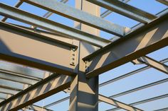 Structural steel framework on new industrial unit