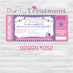 Pink Girl Nautical Baby Shower Boarding Pass by PartyTreatment, $10.00