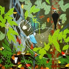 Charley harper- love the idea of painting something like this in the nursery