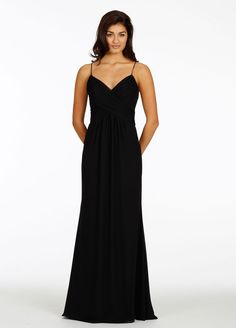 Bridesmaids and Special Occasion Dresses by Jim Hjelm Occasions - Style jh5422.....Black chiffon A-line bridesmaid gown, draped halter neckline with spaghetti straps, natural waist with gathered skirt, cut-out back.