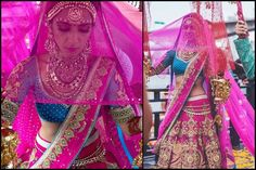 veil (ghunghat) with traditional indian wedding outfit