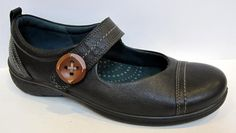 ECCO 'Clay' Black Leather Mary Jane Flat Size 38/US 7-7.5 #ECCO #MaryJanes
