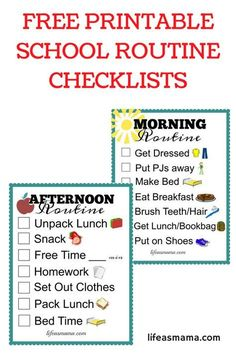 printable checklists that are perfect for both a morning and evening routine for kids. These are great for school mornings!Free printable checklists that are perfect for both a morning and evening routine for kids. These are great for school mornings! After School Checklist, After School Routine, Kids Checklist, Kids Schedule, School Routines, Checklist Template, Daily Routines, Morning Routine Chart, Kids Routine Chart