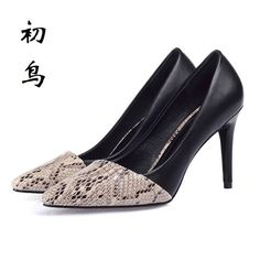 2017 Small Size 30-43 Fashion Stitching Serpentine Sexy High Heels Women Pumps Ladies Shoes Woman Chaussure Femme Talon Mariage #Affiliate