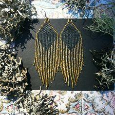 Golden Dawn Black...Beaded Fringe Earrings