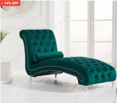 New England Green Velvet Chaise; With its smooth curves and appealing design the New England Green Velvet Chaise is a. Green Velvet Armchair, Velvet Chaise Lounge, Green Velvet Fabric, Chaise Sofa, Recliner Chairs, Green Sofa, Lounge Sofa, Room Chairs, Oak Furniture Superstore