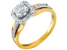 Pierścionek z żółtego i białego złota z diamentami i brylantami