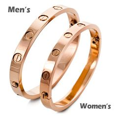 Justeel Jewelry Woman Rose Gold Screw Stainless Steel Cuff Bangle Bracelet