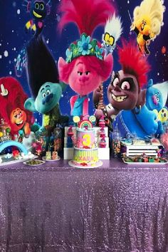Check out this fun and colorful Trolls birthday party! What a cool dessert table! See more party ideas and share yours at CatchMyParty.com Trolls Birthday Party, Girls Birthday Party Themes, Troll Party, Girl Birthday, Birthday Parties, Dessert Table Backdrop, Dessert Tables, Table Decorations, Fun Desserts