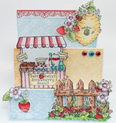 Candy Slabaugh creates a card featuring #HeartfeltCreations #BerryCafe #ArtGlitter #Want2Scrap #Copics #StepCard