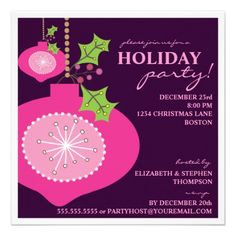 Shop Holiday Party Retro Pink Ornament Invitation created by kat_parrella. Personalize it with photos & text or purchase as is! Christmas Dinner Invitation, Holiday Party Invitation Template, Cocktail Party Invitation, Christmas Party Invitations, Invitation Templates, Christmas Gift Exchange, Christmas Holidays, Pink Christmas, Holiday Parties