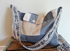 Japanese Boro Sashiko Stitch Linen Bucket Tote Bag Purse Slow stitch primitive mending patchwork recycled Hand dyed Shibori Silk by thejadedorris on Etsy