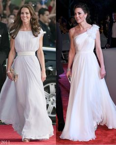 The Duchess looked positively angelic this evening at the annual BAFTAs event in a new gown and jewellery from Diana and the Queen… Duchess Kate, Duke And Duchess, Duchess Of Cambridge, Princess Charlotte, Princess Kate, Kate Middleton Outfits, Prince William And Catherine, Royal Dresses, Royal Style