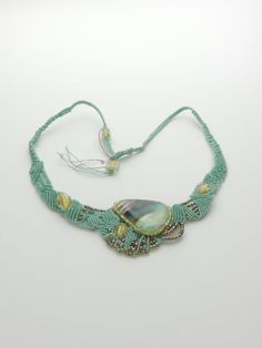 One of a kind freeform bluegreen micro macrame by ArtistryCreated