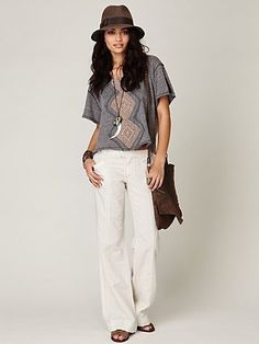 Free People Linen Wideleg Trouser at Free People Clothing Boutique - StyleSays