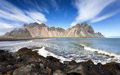 Lataa kuva Islanti, Vestrahorn, rannikolla, vuoret, aallot