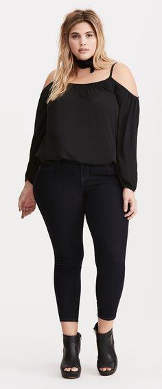 Plus Size Georgette Cold Shoulder Top