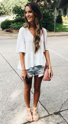 #Summer #Outfits / White V Neck Blouse + Denim Short Shorts #casualsummeroutfits