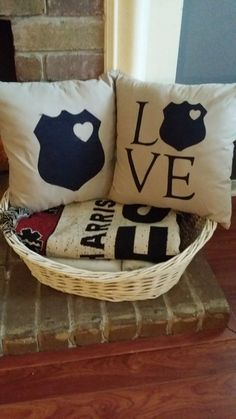Our Police Love Pillow Set are just too cute! Show your LEO love proudly in your home. Police Girlfriend, Cop Wife, Police Officer Wife, Police Wife Life, Police Family, Police Crafts, Police Love, Thin Blue Lines, Blue Life