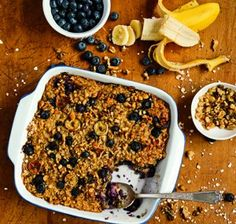 Blueberry-Banana Baked Oatmeal. A perfect combo that will help power you through your day and guard against energy fluctuations. #fitness #energy #workout #diet