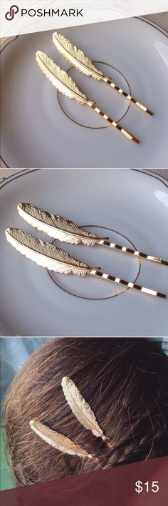 """Gold boho feather bobby pins You will receive two beautiful gold feather bobby hair pins. Measures approximately 3 1/2"""" long. I have more colors available in my shop to choose from as well! These are perfect accessories for your summer attireHandmade//Brand new. Bundle & save 15% on 3+ items! Tags-Boho, bohemian, gypsy, spring, leaf, feathers, vintage, wanderlust, rustic, fashion, trendy, hair clip, gift Accessories Hair Accessories"""