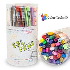 Gel Pens from Color Technik Offers Set of 40 Best Assorted Colors Including Glitter, Metallic, Pastel, Neon & Classics. Acid Free Premium Quality Fast Drying with Smooth Ink Flow. Enhance Your Adult Coloring Book Experience Now! Perfect Gift Idea!