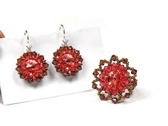 Handmade Earrings and ring jewelry set Red Brown by Florist, $150.00