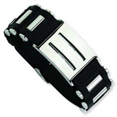 Stainless Steel Black PVC 9.5in Buckle Bracelet. Metal Wt- 53.33g. 9.5in long. Jewelrypot. $40.99. 100% Satisfaction Guarantee. Questions? Call 866-923-4446. Your item will be shipped the same or next weekday!. 30 Day Money Back Guarantee. All Genuine Diamonds, Gemstones, Materials, and Precious Metals. Fabulous Promotions and Discounts!