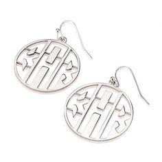 Sterling Silver Capital 3 Letters Negative Font Monogram Earrings