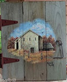 Old Barn Wood Home Decor | ... PAINTING-on-PRIMITIVE-BARN-WOOD-Old-STONE-BARN-on-BARN-DOOR-Home-Decor