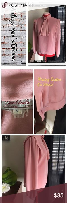 Vintage 1980's pink sheer button back blouse Vintage blouse circa 1980's; sheer. Buttons down in back. Bottom missing on cuff.                                   REASONABLE OFFERS ONLY- -Smoke and pet free - I try to stay around 75% off MSRP; please keep this in mind when making offers.  -I do not model anything; everything looks different on everyone and I don't wasn't too Jade that. I will provide measurements if needed.  -NO HOLDS, NO TRADES, POSH RULES ONLY! Vintage Tops Blouses
