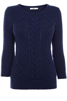 Cable knit navy jumper