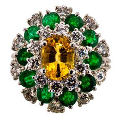 Oscar Heyman Yellow Sapphire Emerald and Diamond Cocktail Ring   From a unique collection of vintage cocktail rings at https://www.1stdibs.com/jewelry/rings/cocktail-rings/