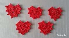 Crochet Heart Appliques Valentine's Day Decorations by MikelinaArt