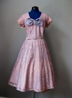 Purple Lace Dress / Vtg 40s / Gloria Swanson lavender Purple Lace Cocktail Dress