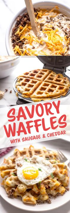 Savory Waffles with Sausage & Cheddar - Give your weekend waffles a make-over by adding savory sausage and cheddar cheese. Drizzled with maple syrup or topped with a fried egg, these waffles are sure to be a new favorite brunch recipe! Savory Waffles, Pancakes And Waffles, Brunch Recipes, Breakfast Recipes, Pancake Recipes, Yummy Recipes, Crepe Recipes, Breakfast Sandwiches, Healthy Recipes