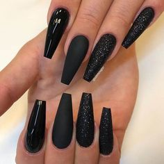 Nail - Super Pretty Long Black Nail Styles & Trends For Ready to wear the Shiny a. - - Super Pretty Long Black Nail Styles & Trends For Ready to wear the Shiny and cutest Nail styles? Try out this Amazing Black Long Nail Designs in. Long Black Nails, Black Acrylic Nails, Black Coffin Nails, Best Acrylic Nails, Matte Nails, Long Nails, Black Glitter Nails, Black Gel Nails, Black Nail Art