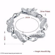 Silver Color Chain Bracelet For Women Big White Dragon Bracelets Charm Fashion Silver Jewelry Female  #jewelry #silver #animal