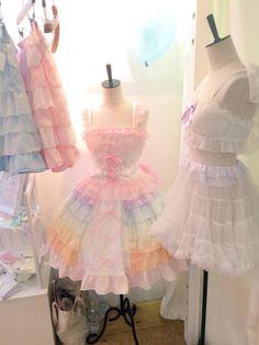 OMG, it's pastel heaven! Kawaii fashion ~ j fashion ~ harajuku ~ gyaru ~ fairy kei ~ lolita fashion ~ gothic lolita ~ pastel goth ~ Pastel Goth Fashion, Kawaii Fashion, Lolita Fashion, Cute Fashion, Diy Fashion, Trendy Fashion, Fashion Outfits, Style Lolita, Mode Lolita