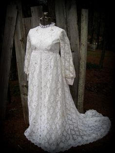 Vintage handmade Lace Wedding Gown.  available at www.bluebirdbridal.etsy.com