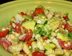 Corn, avocado and tomato salad. This sounds good but I would find a substitute or cut back on the cilantro.