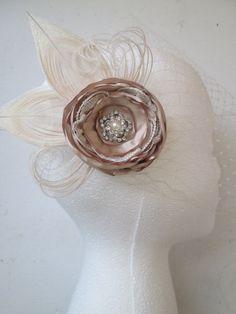 Champagne Rose Bridal Hair Flower Ivory by NakedOrchidGarters
