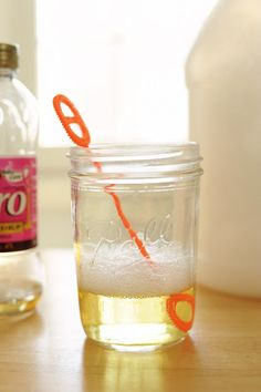 BUBBLES!  2 cups water  1/2 cup liquid dish soap  1/8 cup corn syrup  large container for mixing